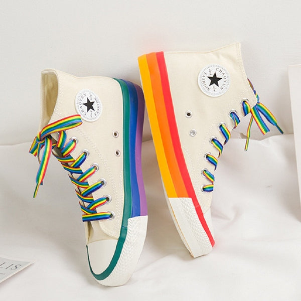 Fashion Women Sneakers Rainbow Bottom Women Shoes High Top Sneaker Canvas Shoes