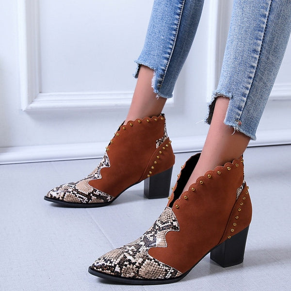 Pointed Toe Wedge Heel Woman Booties Snake Shoes