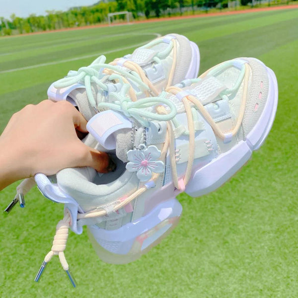 Cute Thick Heel White Shoes Designer Breathable Running Platform Sneakers