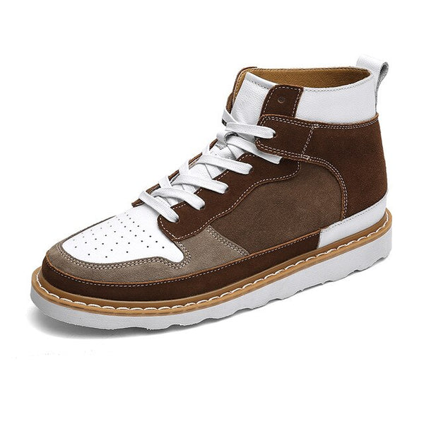 Autumn Patchwork Cow Split Leather Men Casual Sneakers