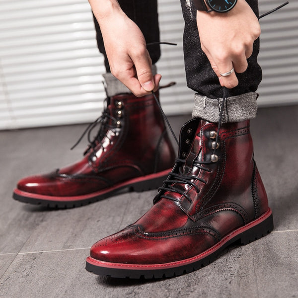 2020 Lace Up Red Mixed Color Low Heel Male Footwear