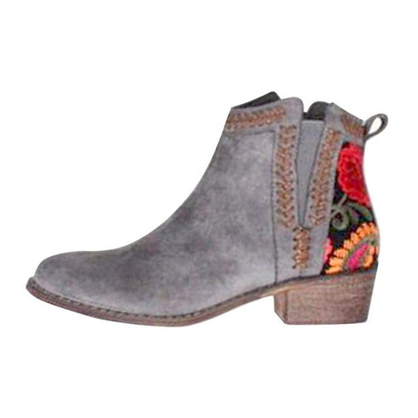 2020 women's new embroidered autumn ankle boots