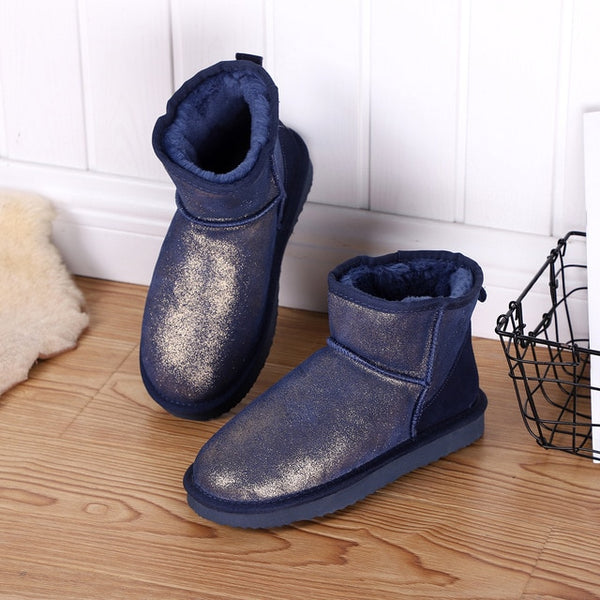New Women Snow Boots 100% Genuine Cowhide Leather Ankle Boots