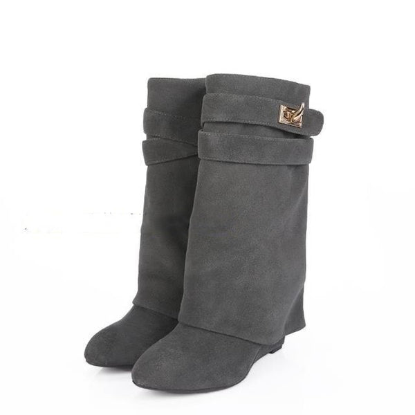 Shark Lock Boots for Women Fashion Genuine Leather Botas
