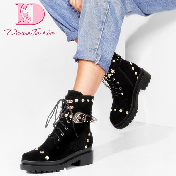 Brand New High Quality Rivet Outdoor High Heel Ankle Boots