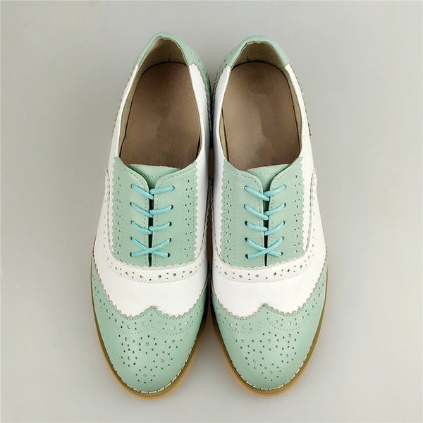 women genuine leather oxford shoes