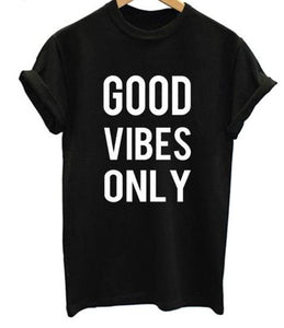 Ladies Vertical Good Vibes Only Printed Hipster T-Shirt