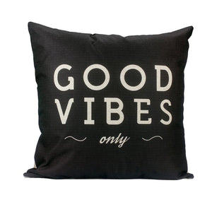 GOOD VIBES Black Decorative Pillow Cover - GVO101