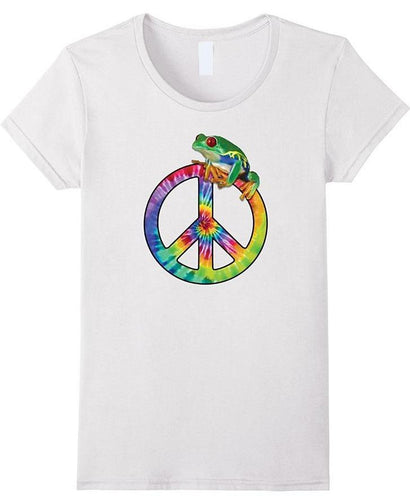 Tie-Dye Peace Sign Tree Frog Slim fit T-shirt - GVO101