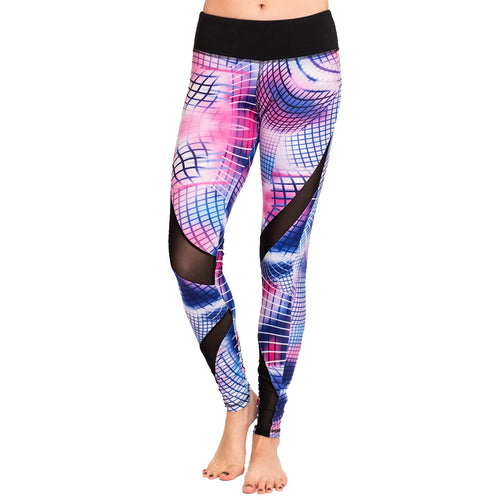 Abstract Printed Mesh Cut-out Yoga Leggings - GVO101