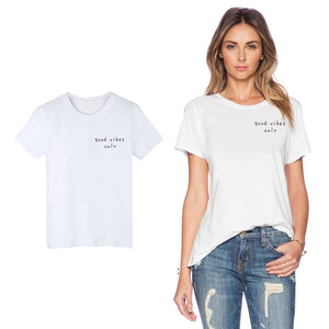 Ladies Casual White Good Vibes Only Print T-shirt - GVO101