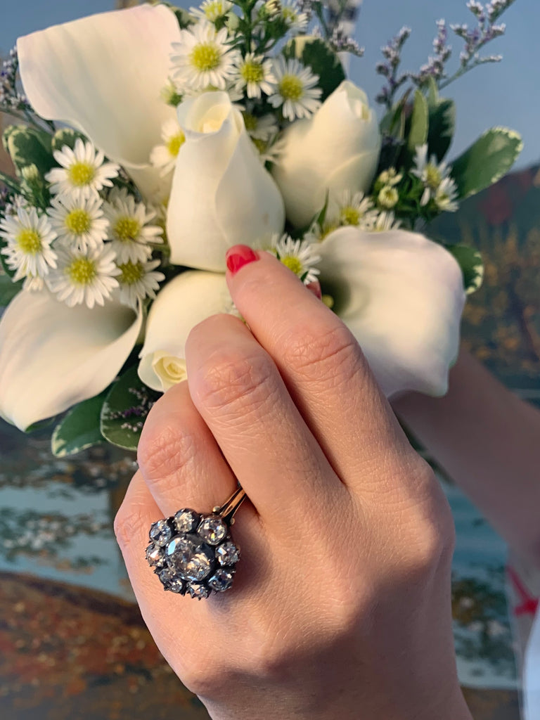 Late Victorian Cluster Diamond Ring Wedding Photo