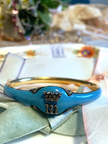 Victorian Blue Enamel Bangle with Royal Inscription