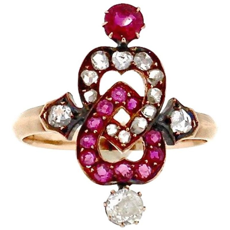 Late Victorian Gold Ruby Rosecut Diamond Twin Heart Ring