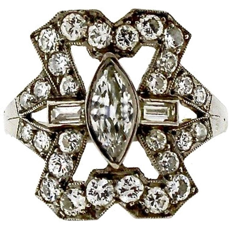 Art Deco Platinum Diamond Panel Ring
