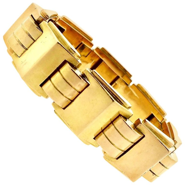 Modernist Retro French Gold Tank Bracelet