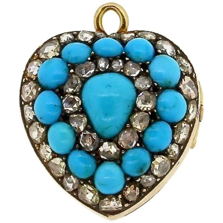 Antique Victorian Rose Cut Diamond Enamel Turquoise Heart Pendant