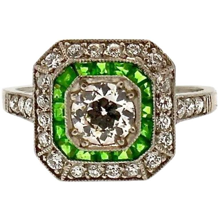Tiffany & Co Art Deco Demantoid Garnet Diamond Platinum Ring