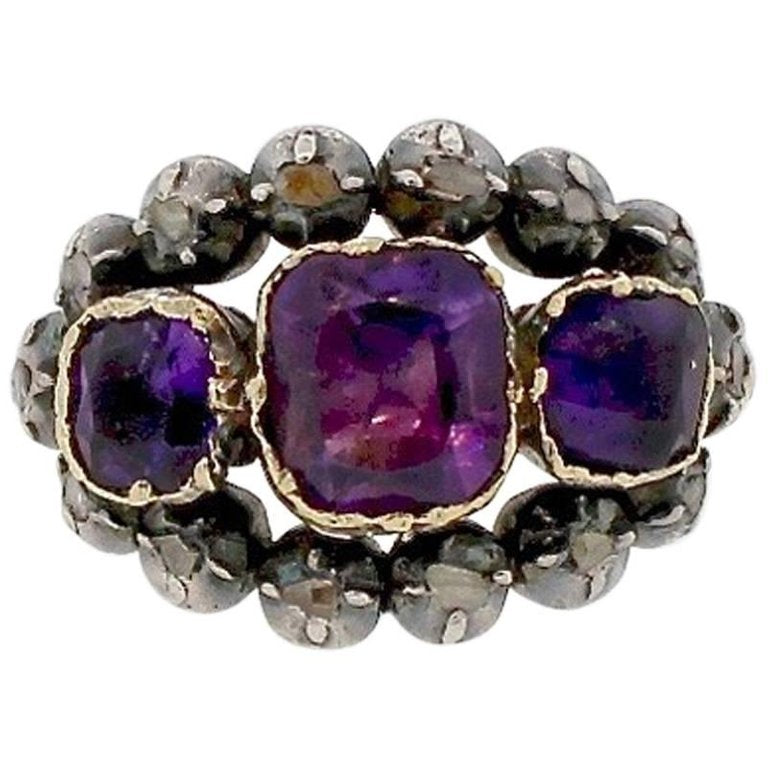 Antique Victorian Amethyst Silver Gold Rosecut Diamond Ring