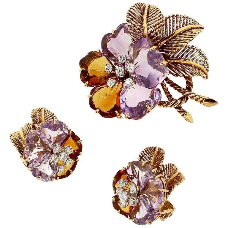 Antique Vintage Boucheron Suite of Amethyst Citrine Flower Jewelry
