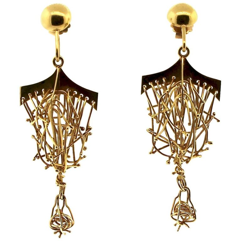 Brutalist Gold Hanging Earring