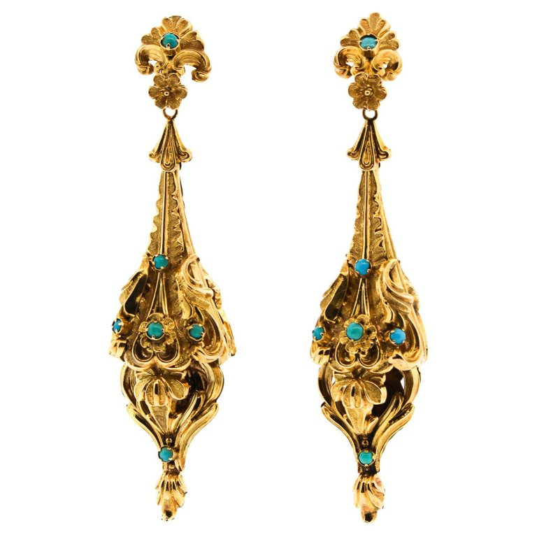 Victorian American Turquoise 14 Karat Gold Repoussé Pendant Earrings