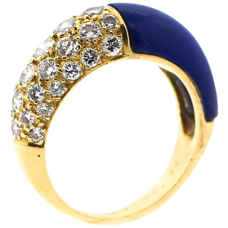 Vintage Cartier 18 Karat Gold Lapis Diamond Band Ring