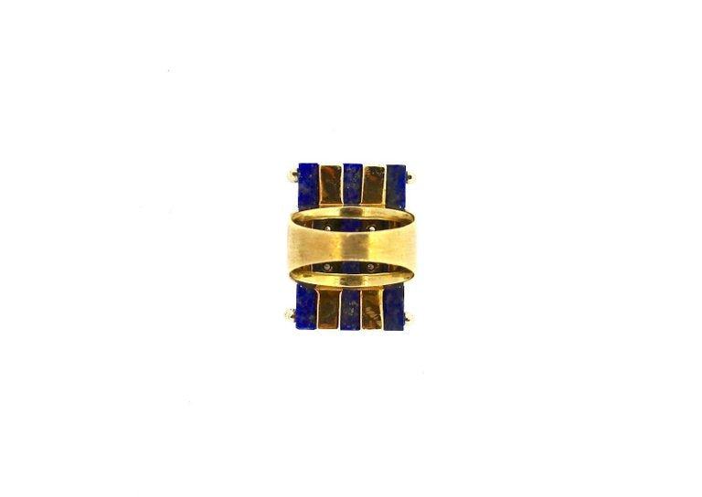 Mid-Century Modern Diamond Lapis Lazuli Gold Cocktail Ring