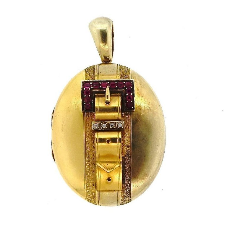 Antique Victorian Buckle Gold Locket with Rubies and Diamonds