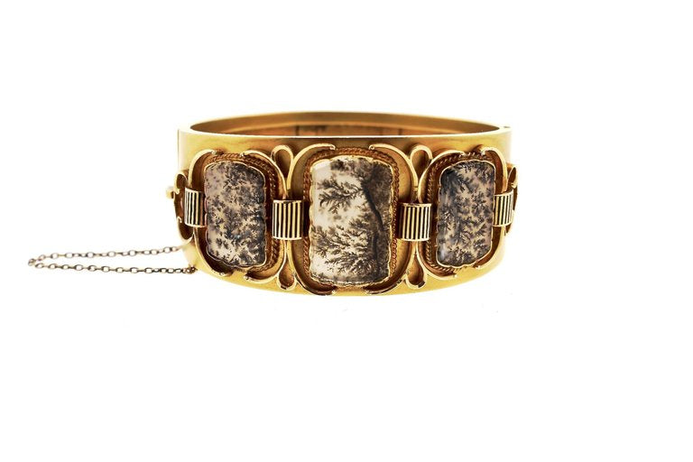 Rare and Unusual Victorian Gold Dendritic Agate Bangle