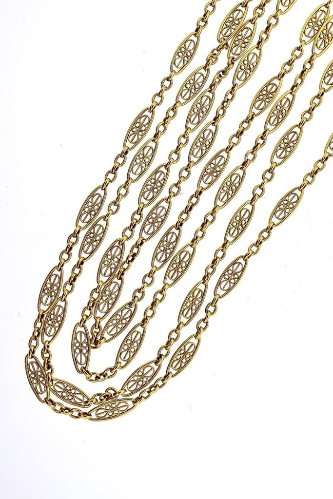 Antique French Early 20th Century Filigree Gold Chain