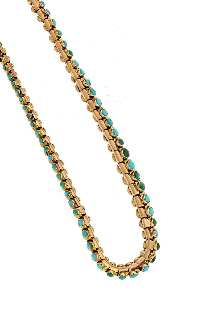 Antique Victorian Turquoise and Diamond Snake Necklace