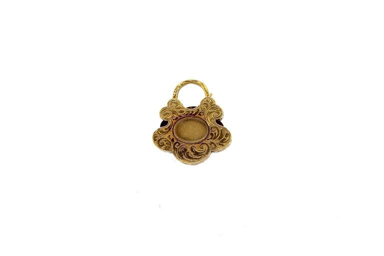 Antique Victorian Turquoise Diamond Gold Padlock Pendant