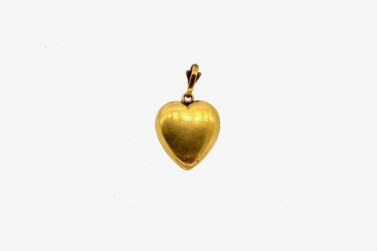 Art Nouveau Gold Diamond Engraved Heart Locket Pendant