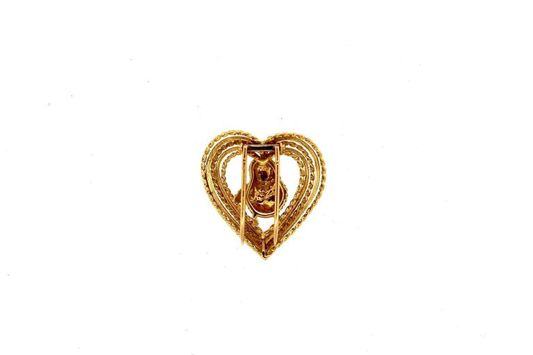 Mid-Century Modern Gold Lovebird Pin by Cartier