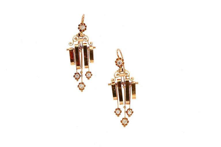 Late Victorian French Rose Gold Diamond Dangling Earrings
