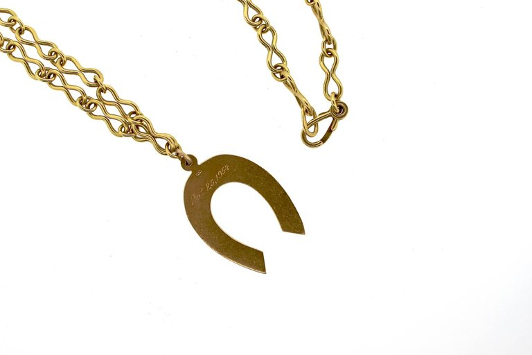Mid-Century Modern Gold Horseshoe Pendant Necklace