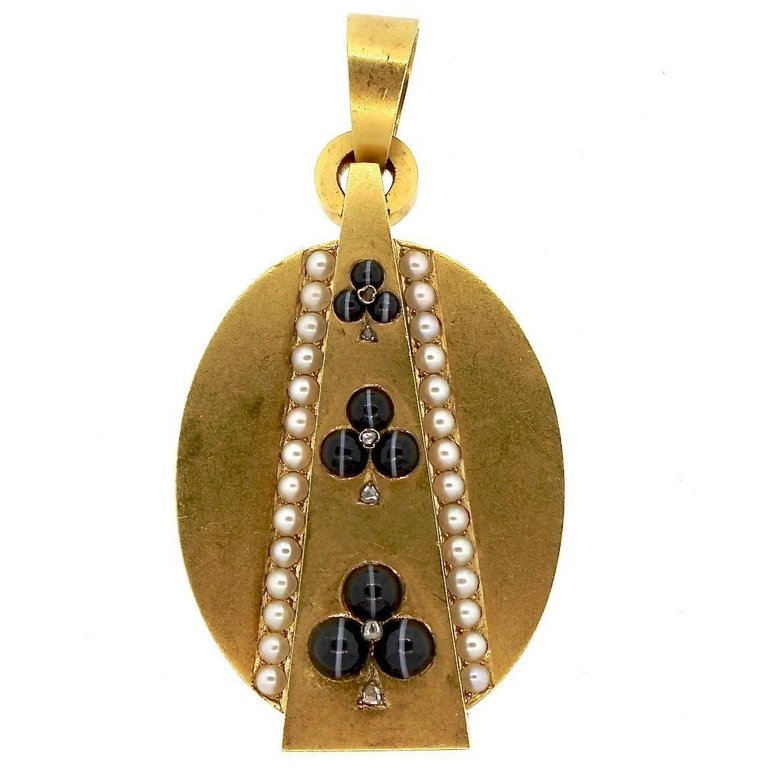 Antique Victorian Gold Trefoil Agate Pearl Diamond Locket Pendant