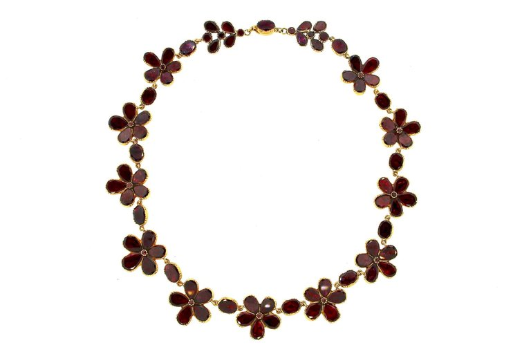 Antique Late Georgian Garnet Flower Riviere Necklace