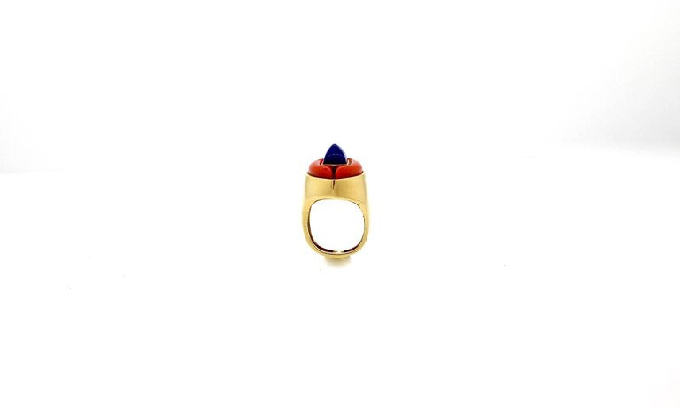 Modernist Gold Lapis and Coral Gold Statement Ring