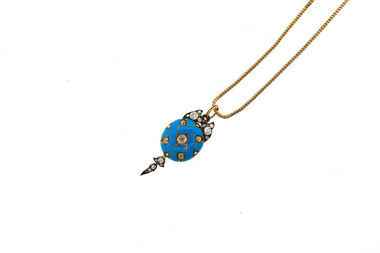 Antique Victorian Blue Enamel Old Mine Cut Diamond Pendant Necklace