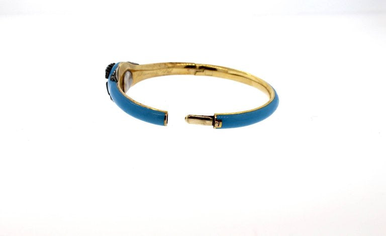 Victorian Blue Enamel Rose Cut Diamond Royal Bangle Bracelet