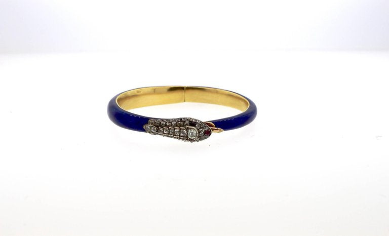 Victorian Blue Enamel Old Mine Diamond Ruby Snake Bangle