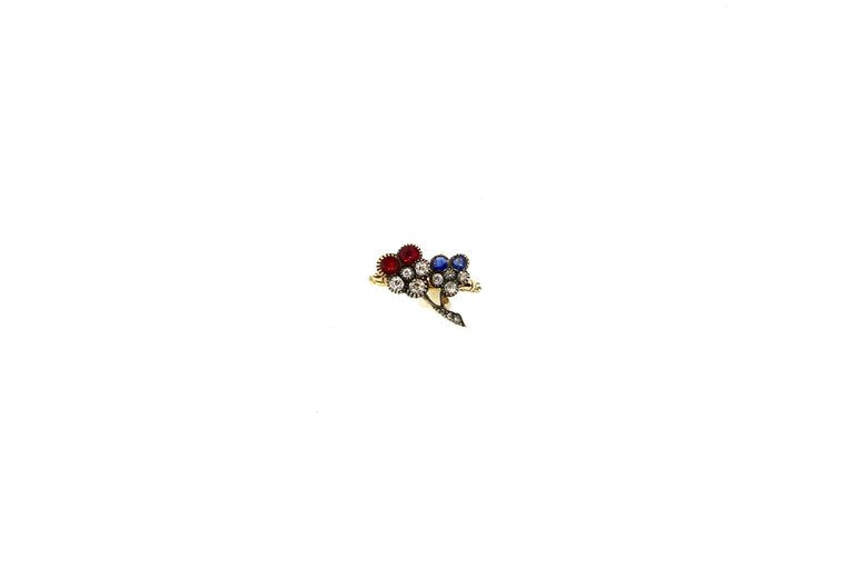 Late Victorian Ruby Sapphire Diamond Pansy Flower Gold Ring