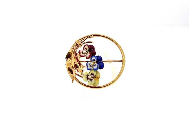 American Antique Gold Enamel Pearl Flower Pansy Pin