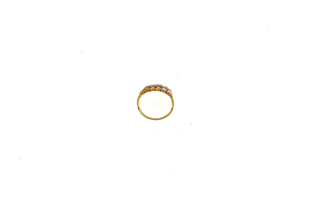 Antique Rose Cut Diamond 18 Karat Gold Half Hoop Engraved Ring