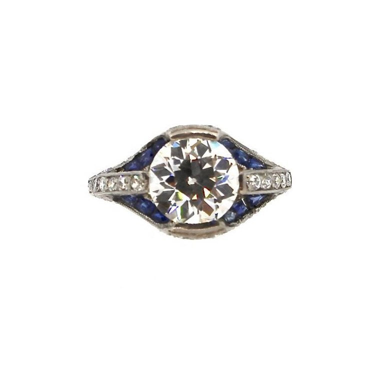 Art Deco Sapphire and GIA Certified I VS2 Old European Cut Diamond Platinum Ring