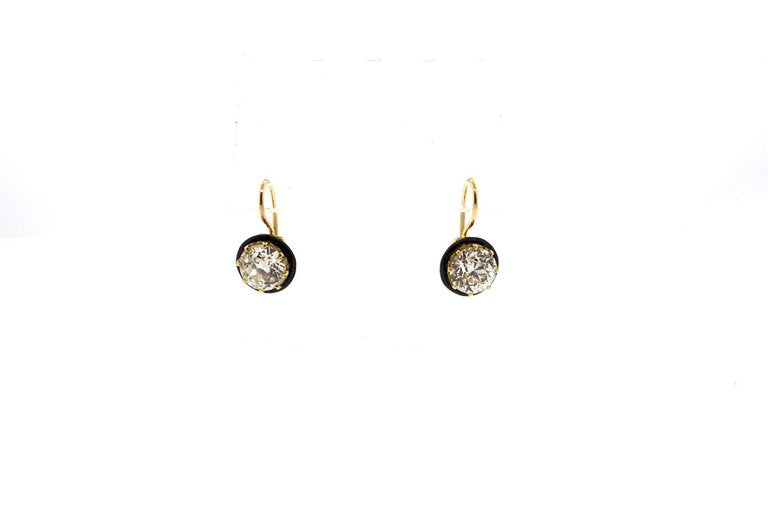 Old European Cut 2.90 and 2.66 Carat Diamond Gold Earrings