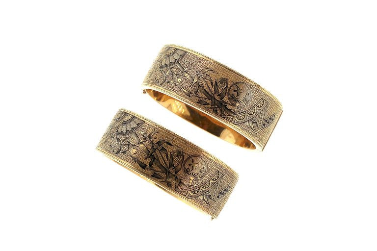 Antique Victorian Pair of Tracery Enamel Cuff Bracelet with Asian Motif