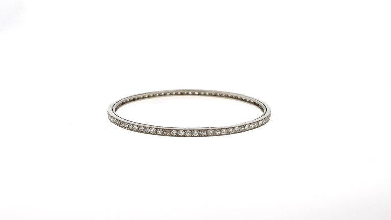Art Deco Diamond Platinum Bangle Bracelet